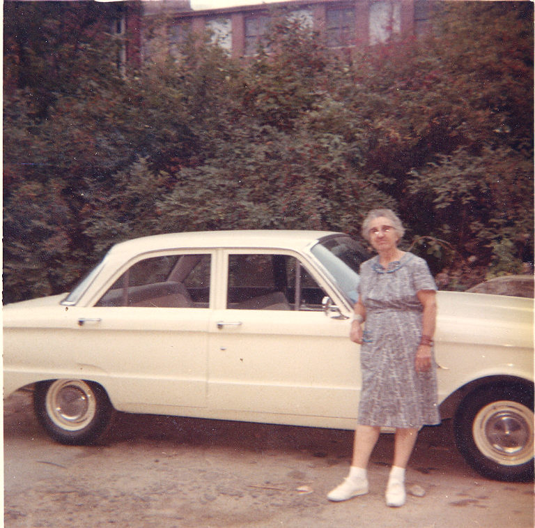 Blanche Dolly Richard 10/1966 At Her Car, In Front Of The Mills In Lawrence,  MA